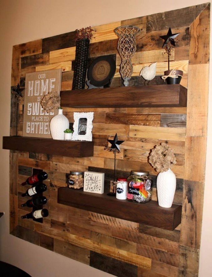 The best diy wood pallet ideas kitchen fun with my 3 sons for Wood walls decorating ideas