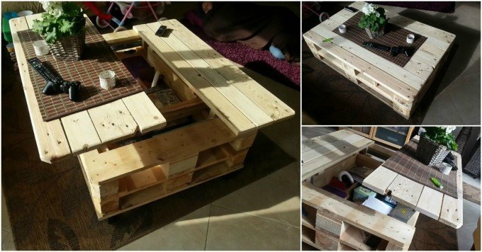 DIY Pallet Coffee Table with Built in Lift & Slide Out...these are the BEST Pallet Ideas!