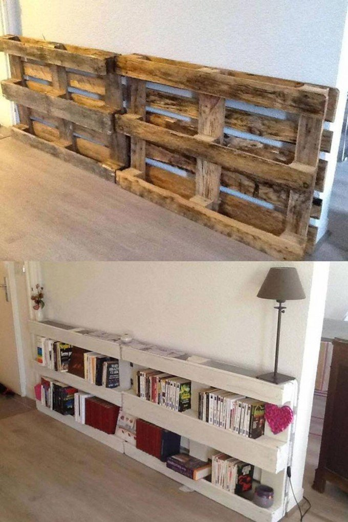 DIY Pallet Bookshelvesthese are the BEST Pallet