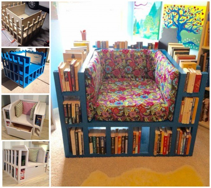 DIY Bookshelf Chair...these are the BEST DIY Wood & Pallet Ideas!