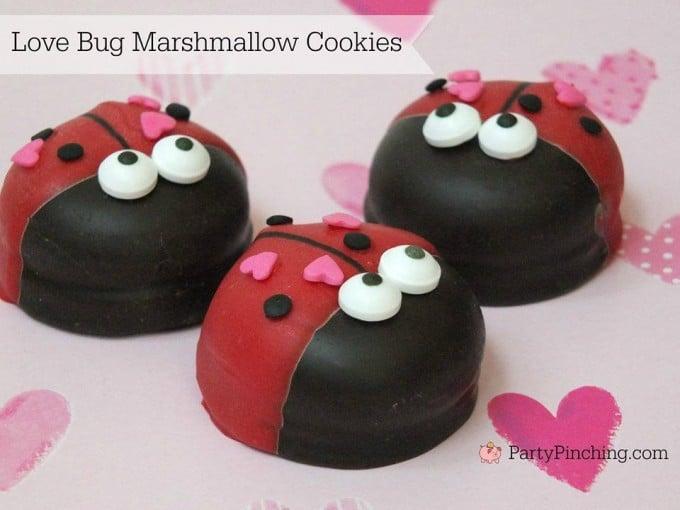 Valentine Love Bug Marshmallow Cookies
