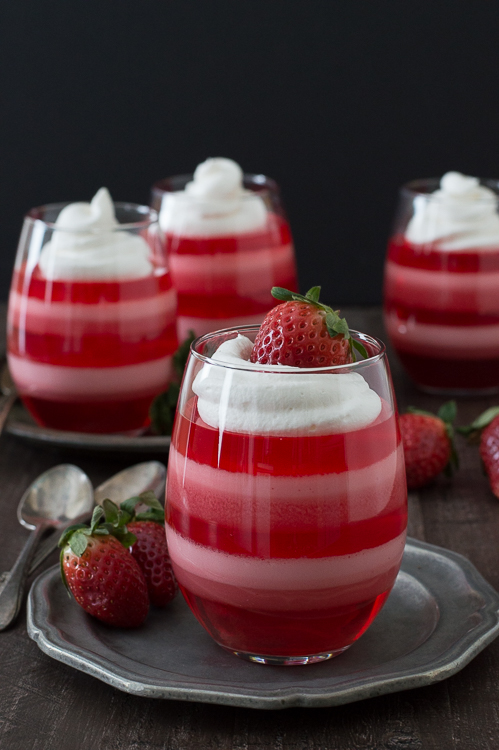 Valentine's Day Strawberry Layered Jello Dessert