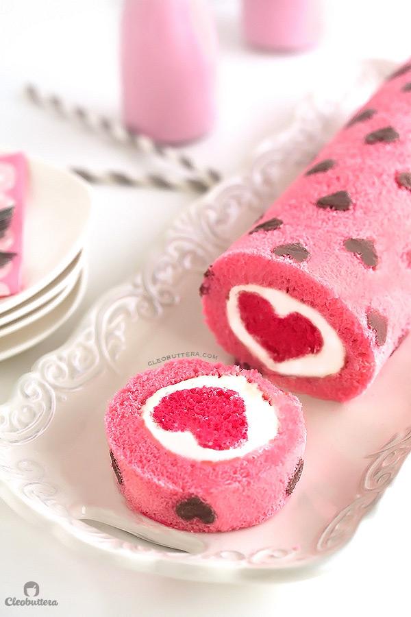 Valentine's Day Heart Cake Roll