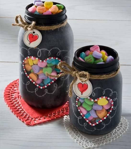 Valentine's Day Chalkboard Heart Mason Jar Gifts