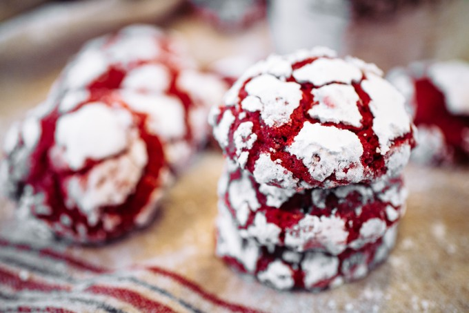 Red Velvet Crinkle Cookies for Valentine's Day