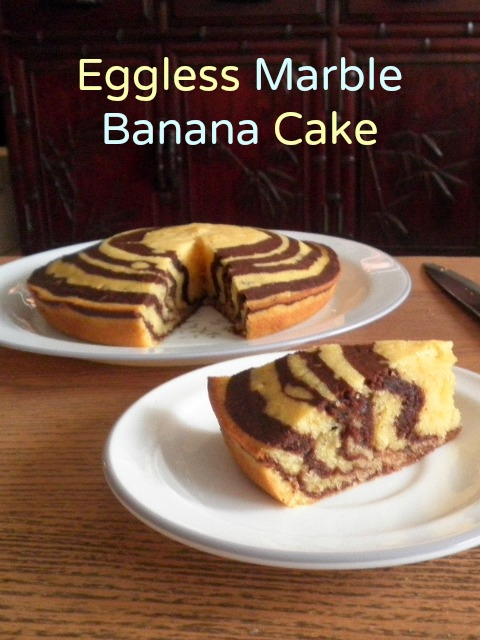 Eggless Marbled Banana Cake