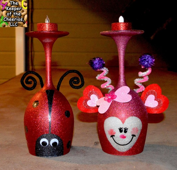 Love Bug & Lady Bug Wine Glass Candle Holders for Valentine's Day!