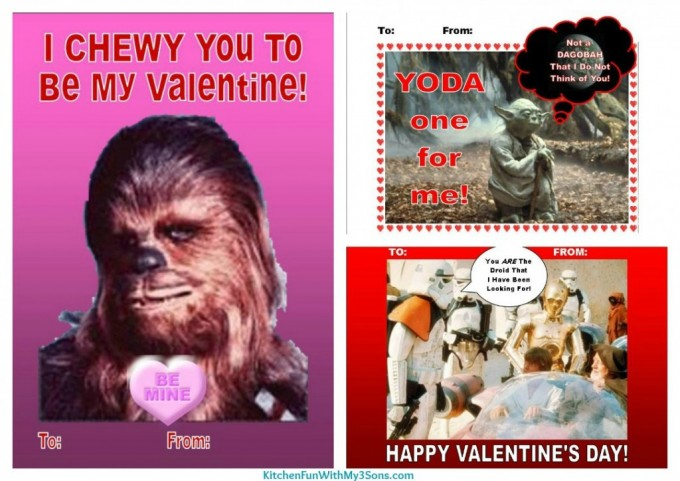 Valentine's Day Star Wars Cards from KitchenFunWithMy3Sons.com