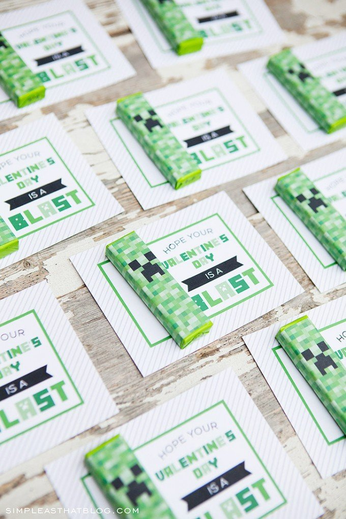 Minecraft Creeper Gum Wrapper Valentine's Day Cards
