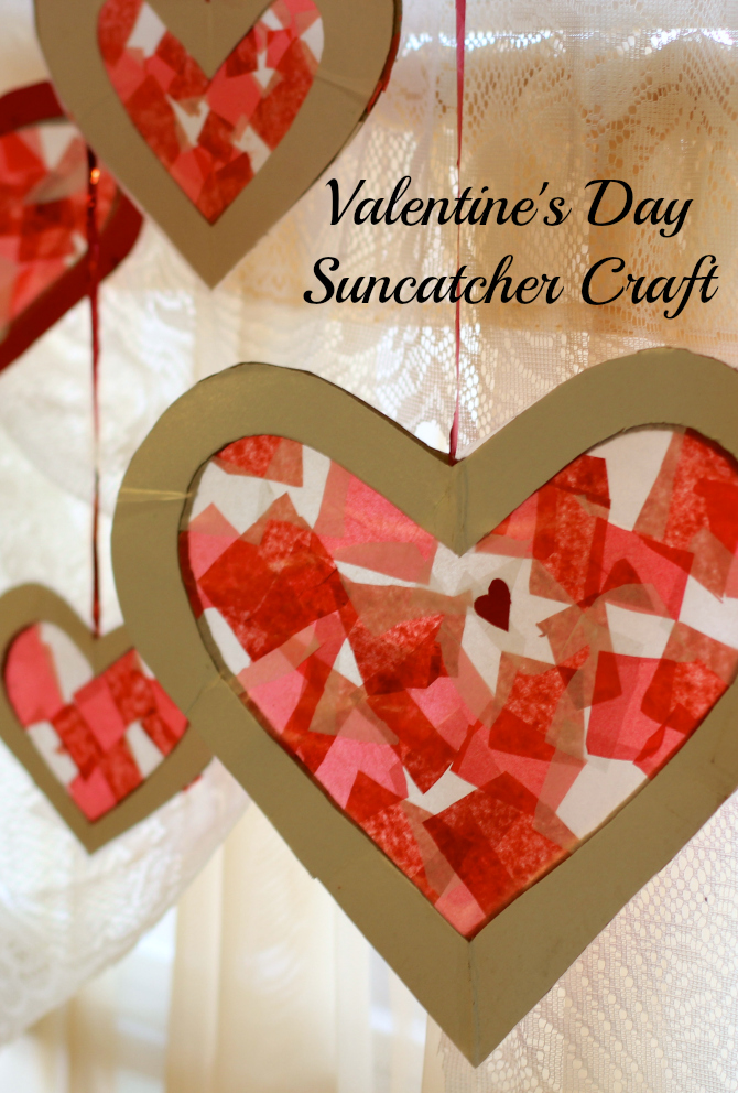 Valentine's Day Tissue Paper Heart Sun Catcher Craft