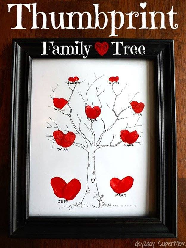 Family Heart Thumbprint Tree