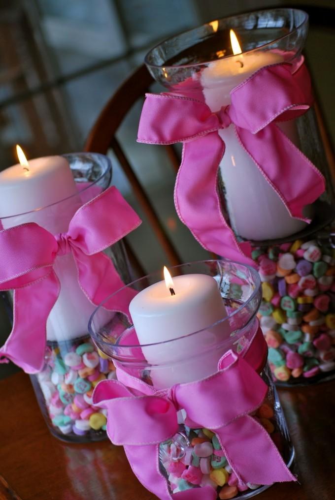 Valentine Hurricane Conversation Heart Vases