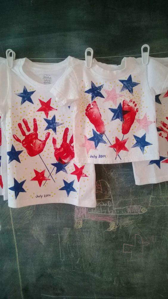 4th of July Handprint Footprint Shirts