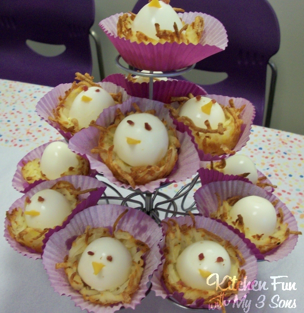 Baby Bird Eggs in a Hash Brown Nest for a fun Spring or Easter Breakfast from KitchenFunWithMy3Sons.com