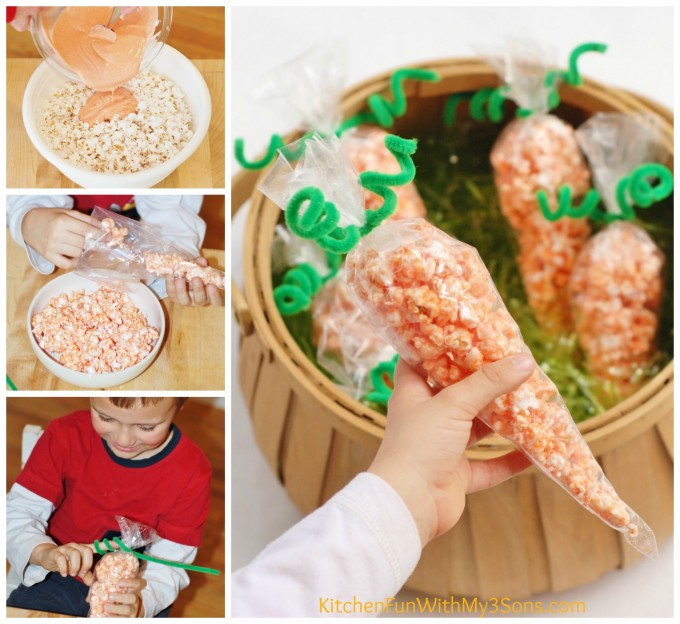 Popcorn Carrot Treat Bags for a fun Easter snack that the kids will love! KitchenFunWithMy3Sons.com