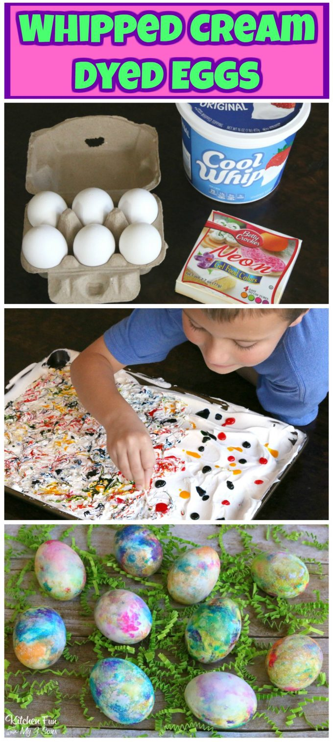 Whipped Cream Dyed Eggs...these are the BEST Easter Egg Ideas!