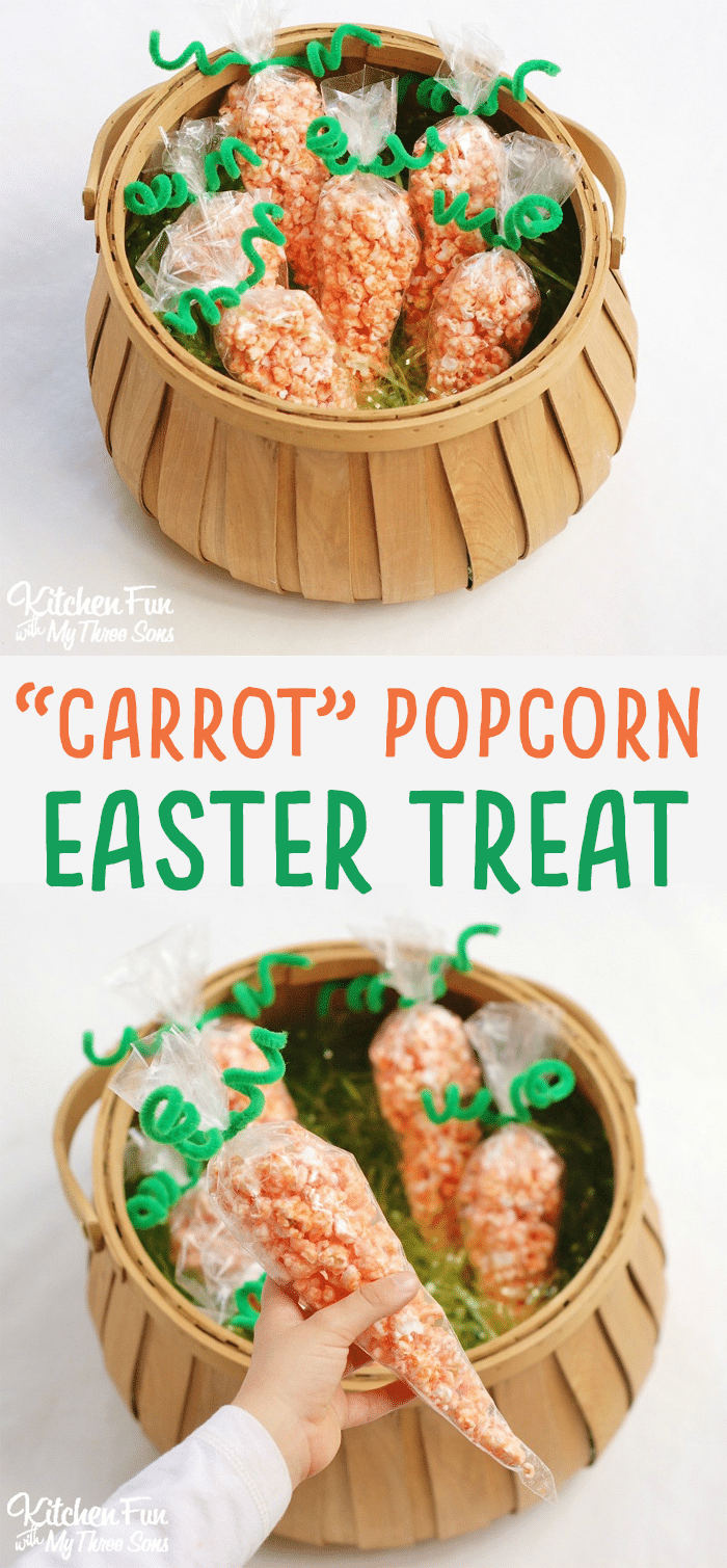 popcorn carrot treat bags - easter snack for kids! - kitchen fun