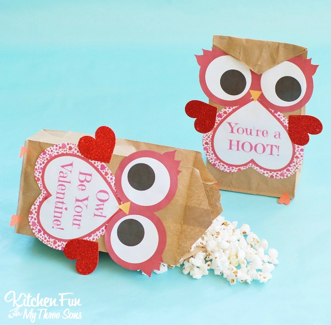 photo relating to Printable Valentine Craft referred to as Valentine Owl Craft - Paper Deal with Luggage with a Free of charge Printable