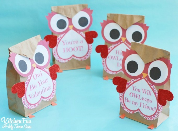 photo relating to Printable Paper Bags called Valentine Owl Craft - Paper Handle Baggage with a Totally free Printable
