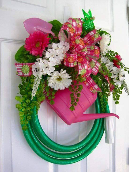 Spring Flower, Hose, & Watering Can Wreath
