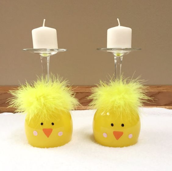 Chick Wine Glass Candle Holders for Easter