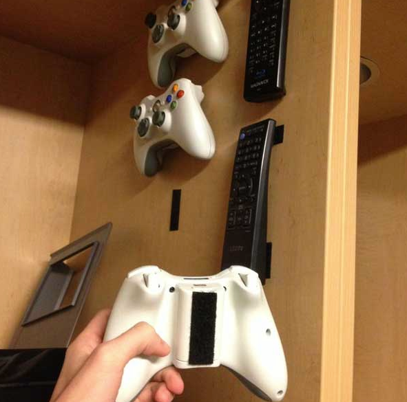 Use Velcro Strips to hold Game & Remote Controls!