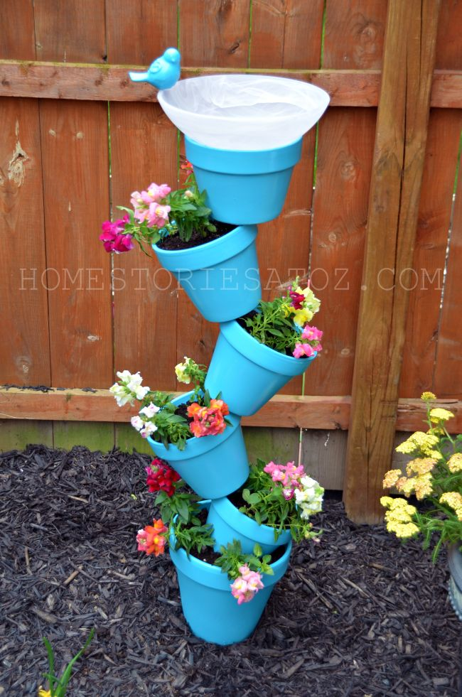 The best diy spring project easter craft ideas kitchen fun with diy garden flower pot bird bath for a fun spring project workwithnaturefo