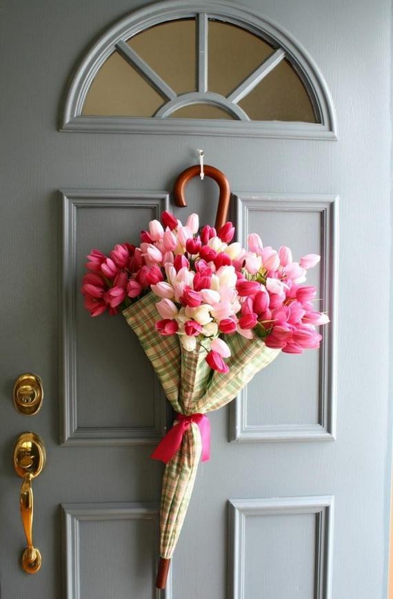 Easy Spring Umbrella Flower Wreath