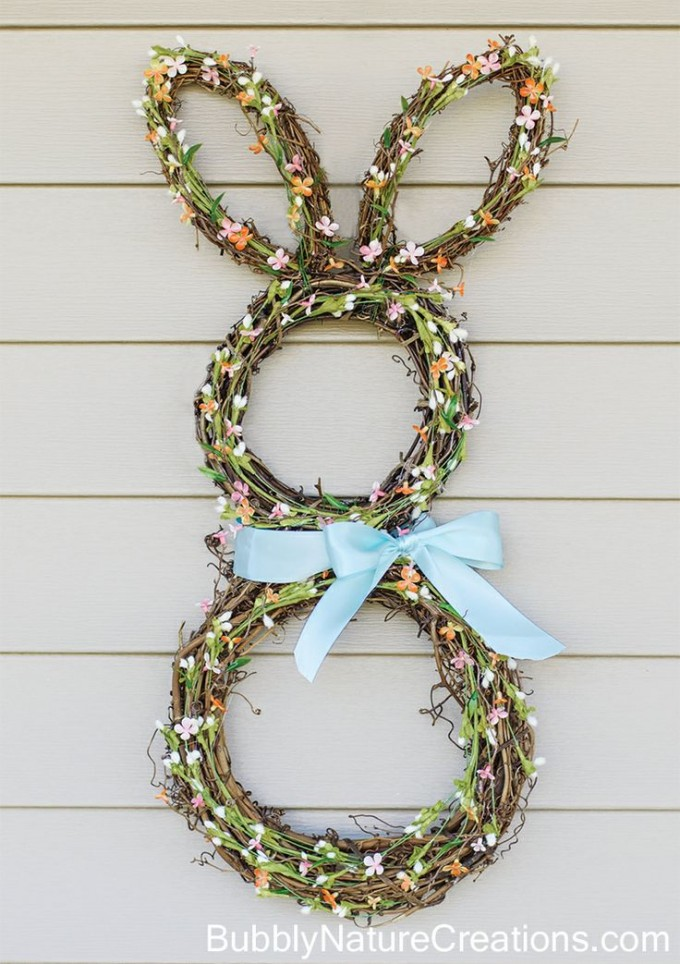 DIY Bunny Burlap Wreath for Easter!