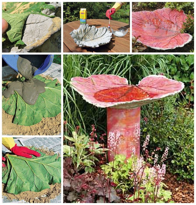 DIY Leaf Cast Bird Bath