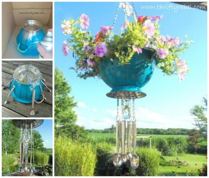 DIY Hanging Colander Planter with Spoon Wind Chimes