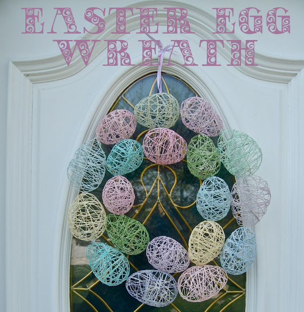 String Easter Egg Wreath...a fun Spring craft to make with the Kids!