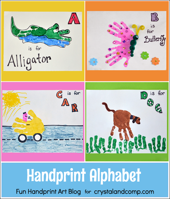 Letter A, B, C, & D Alphabet Handprint Art