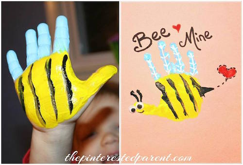 The BEST Hand and Footprint Art Ideas Kitchen Fun With My 3 Sons – Bee Mine Valentine Card