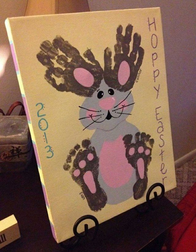 Easter Hand & Footprint Bunny Canvas Art