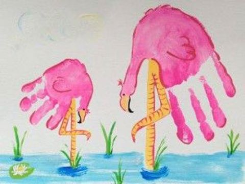 Pink Flamingo Mommy & Daughter Handprint Art...so cute!