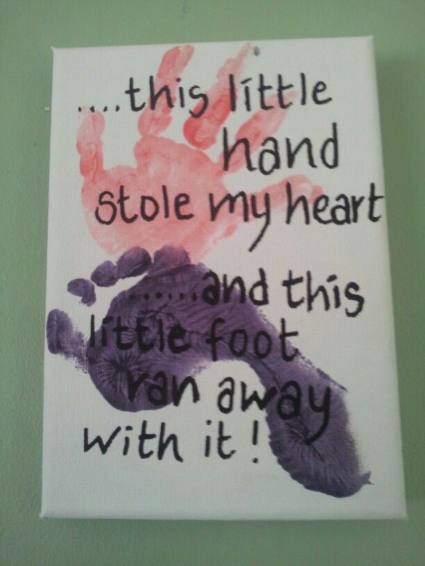 Canvas Craft Ideas For Kids Part - 35: This Little Hand Stole My Heart And This Little Foot Ran Away With It..