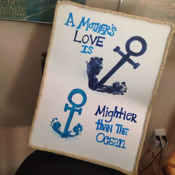A Mother's Love is Mightier than the Ocean Footprint Keepsake...these are the BEST Handprint & Footprint Ideas!