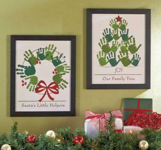 Handprint Christmas Craft Ideas Part - 50: Santau0027s Little Helpers And Our Family Tree Christmas Art....these Are The