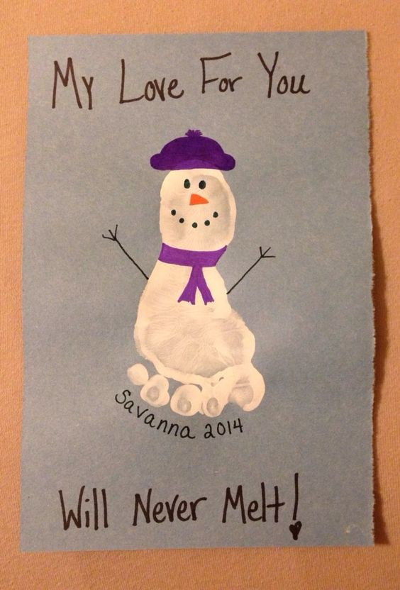My Love for you Will Never Melt Snowman Footprint...these are the BEST Handprint & Footprint Ideas!