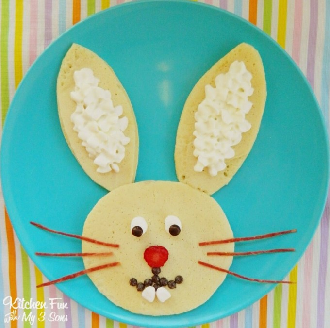 Easter Bunny Pancakes for Breakfast from KitchenFunWIthMy3Sons.com