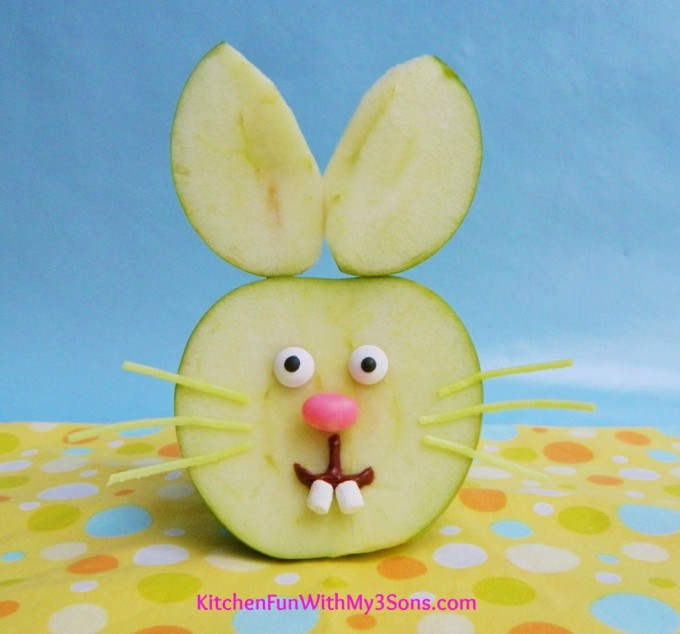 Easter Bunny Apple Fruit Snack from KitchenFunWithMy3Sons.com