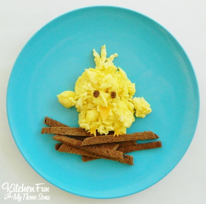 Baby Bird Scrambled Egg Breakfast from KitchenFunWithMy3Sons.com