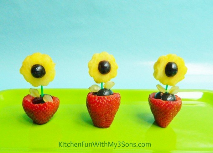 Spring Flower Pot Fruit Snack from KitchenFunWithMy3Sons.com