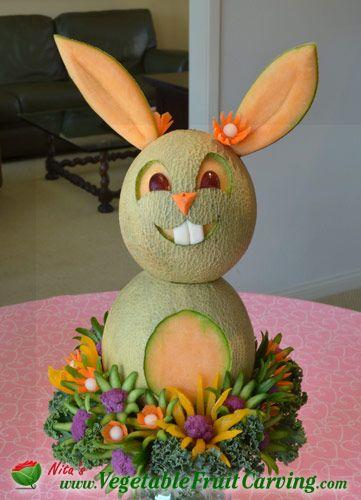 Easter Bunny Cantaloupe Fruit Centerpiece