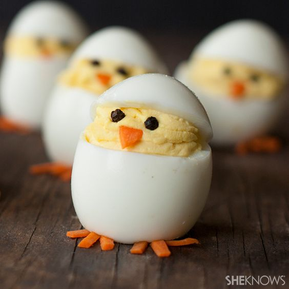 Deviled Egg Chicks for a fun Spring appetizer!