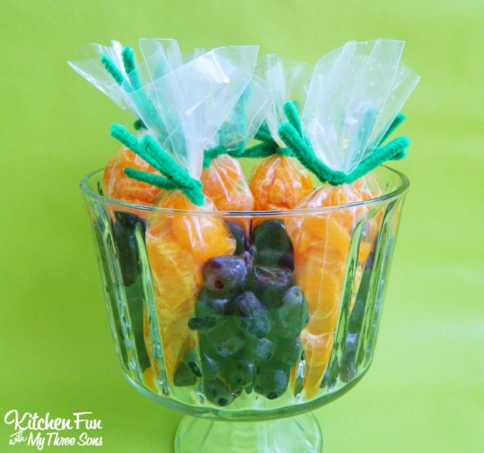 Garden Fruit Carrot Snack...a cute idea for a Easter class party at school from KitchenFunWithMy3Sons.com
