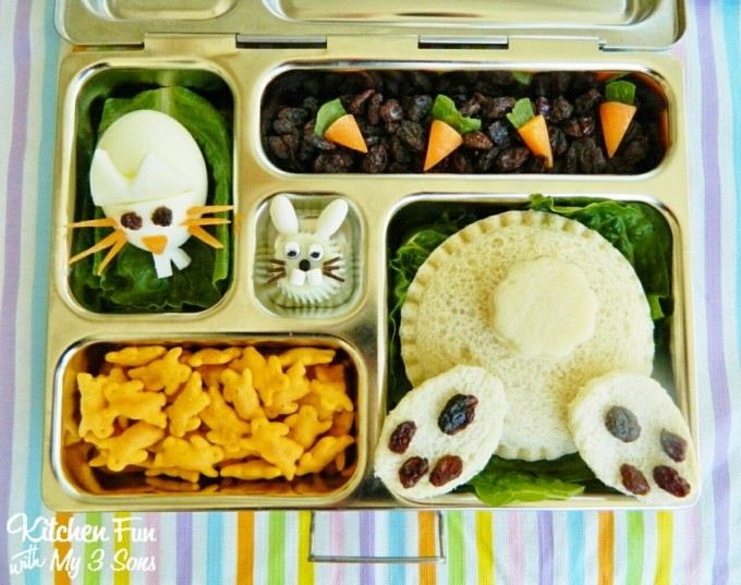 Bunny Butt Bento Lunch for Easter from KitchenFunWithMy3Sons.com