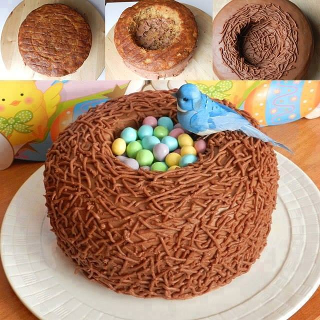 Baby Bird Nest Cake for Easter