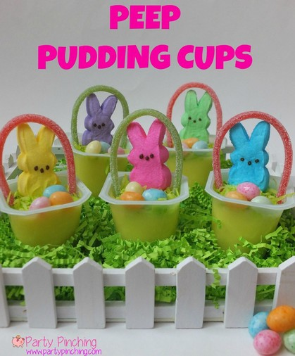 Easter Bunny Peeps Pudding Cups